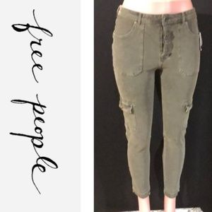 NWT FREE PEOPLE Button Fly Cargo Skinny Jeans
